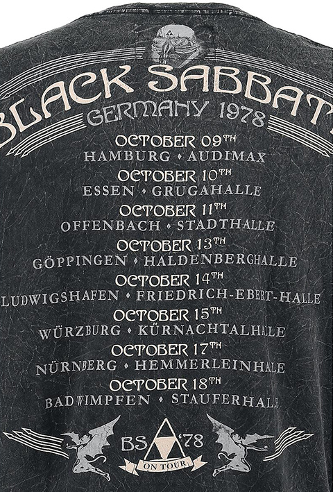 The picture shows the back of a T-shirt with Black Sabbath tour dates.
