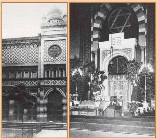 A rare picture of the New Dammtor Synagogue, built in oriental style.