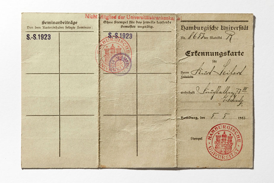 Identity card of the University of Hamburg with Stamp, 1923
