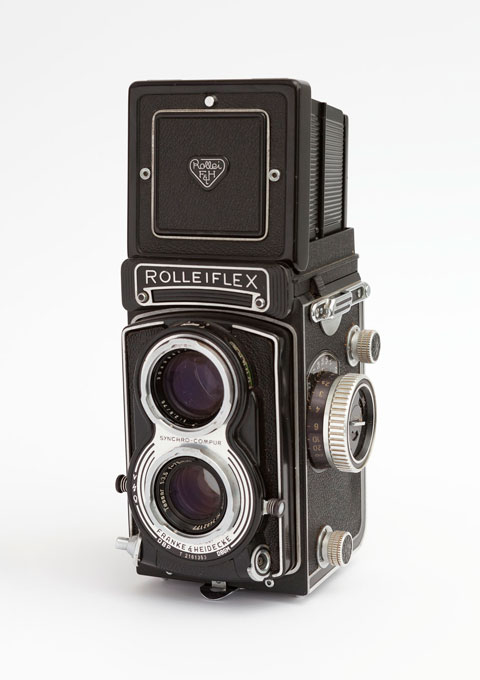 Rolleiflex, twin lens middle format reflex camera, 1960s, opened