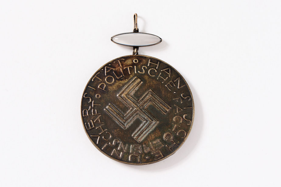 "Prototype of the dean's medallion for the ""political association,"" with swastika"
