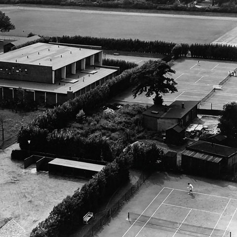 The former University tennis courts, around 1960
