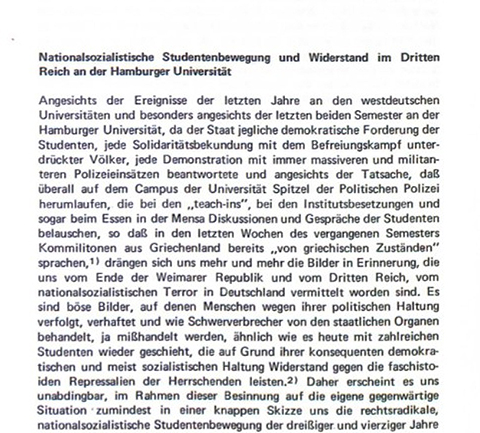 National Socialist Student Movement and Resistance in the Third Reich