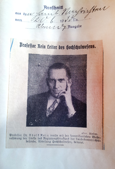 Newspaper clipping on the appointment of Adolf Rein