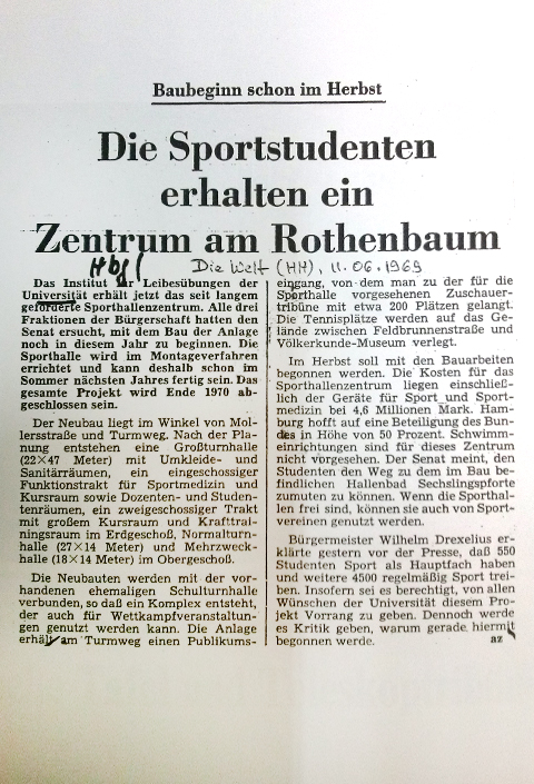 Article about the new construction of the sportsh halls in 1969.