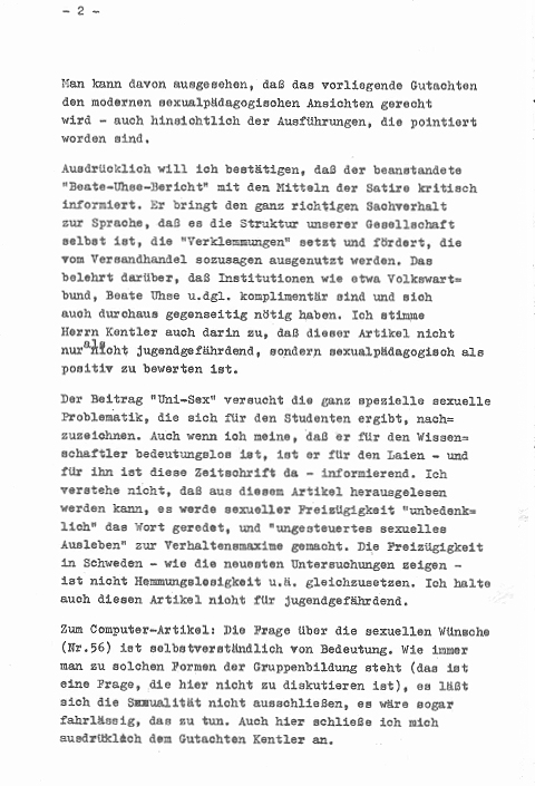 Professor Hans Giese assess an article about Beathe Uhse as positiv for sex education, 1969.